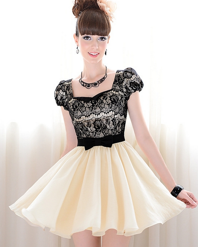 Lace bowknot shitsuke dress l000007