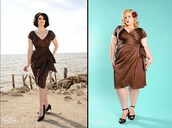 dress,Pin up,brown,plus size