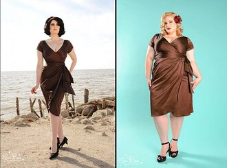 dress pin up brown plus size