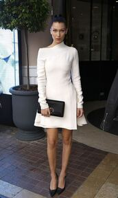 dress,white dress,spring outfits,spring dress,pumps,long sleeve dress,bella hadid,clutch,shoes
