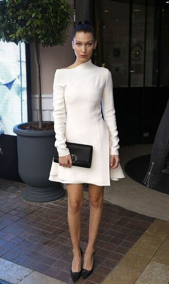 dress white dress spring outfits spring dress pumps long sleeve dress bella hadid clutch shoes