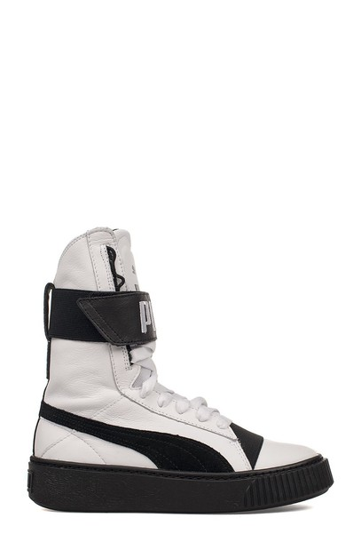 puma high sneakers leather white black shoes