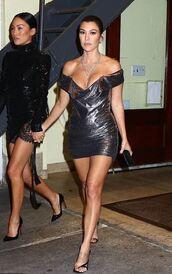 shoes,dress,mini dress,bustier dress,bustier,sandals,sandal heels,kourtney kardashian,kardashians,metallic