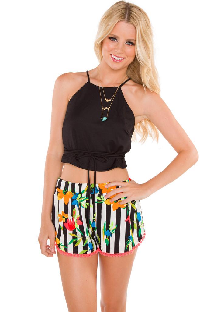 Just Love Pom Pom Shorts - Black