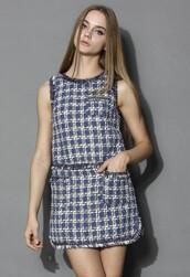 dress,chicwish,sweet chained plaid dress,sleeveless twill dress,fashion and chic