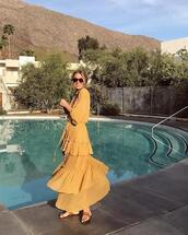 le fashion image,blogger,dress,maxi dress,yellow dress