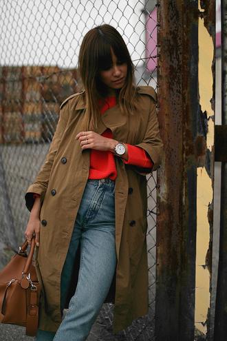 teetharejade blogger shirt skirt sunglasses bag trench coat red sweater handbag brown bag