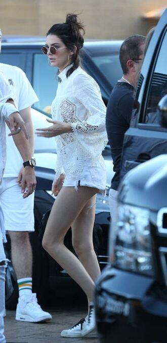 blouse shorts kendall jenner sunglasses white blouse