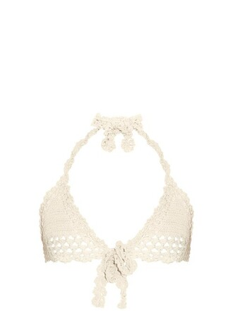 bikini bikini top crochet bikini triangle crochet cream swimwear
