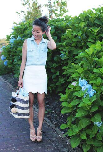 skirt scalloped skirt mini skirt white skirt sleeveless shirt denim shirt blue shirt bag beach bag striped bag sandals wedge sandals nude sandals summer outfits extra petite blogger