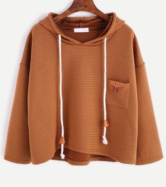 sweater brown crop cropped cropped hoodie hoodie pockets knit