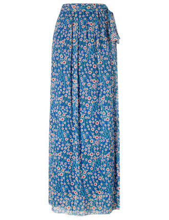 skirt floral blue silk