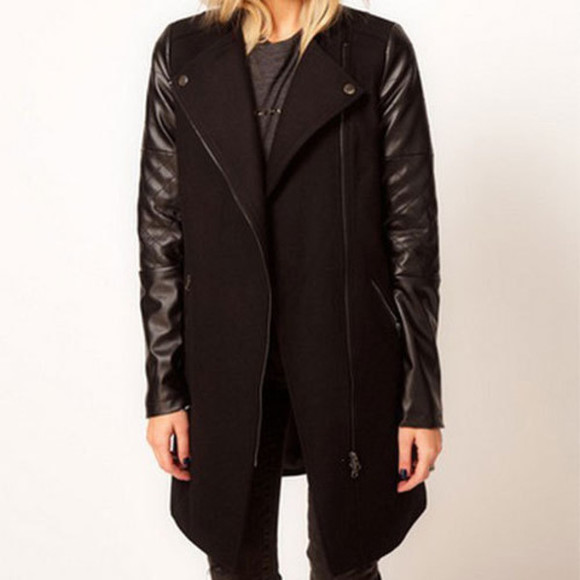 zip coat lapel pu sleeve