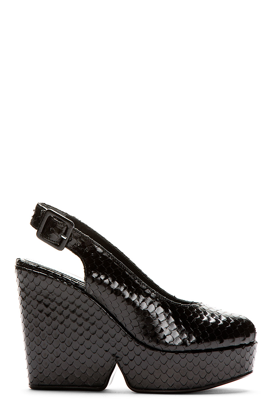 Robert clergerie black snakeskin dylanh wedge sandals