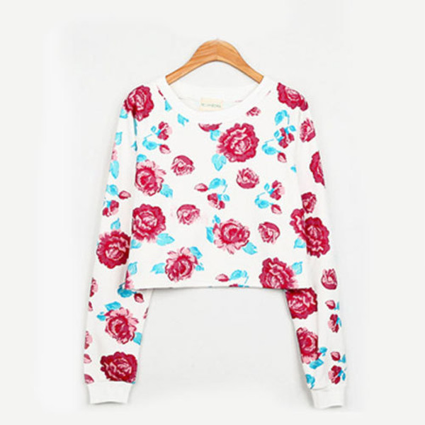 shirt sweatshirt short rose crewneck