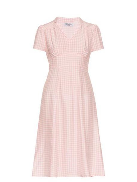 hvn dress short gingham white pink
