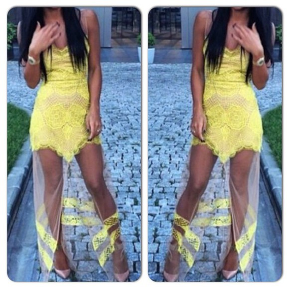 dress yellow dress summer dress lace dress