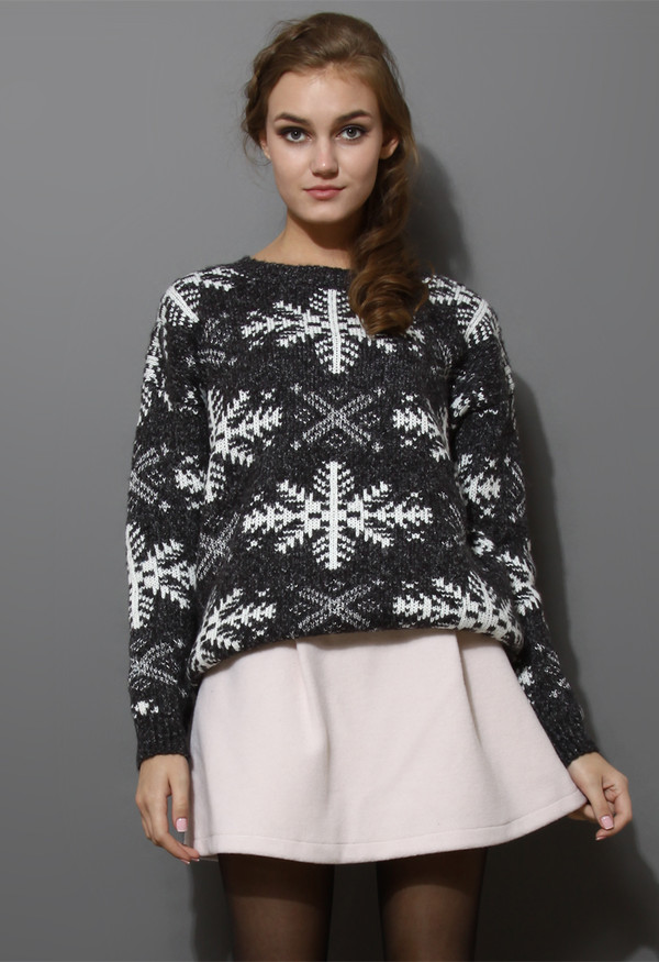 sweater snowflake pattern knit grey