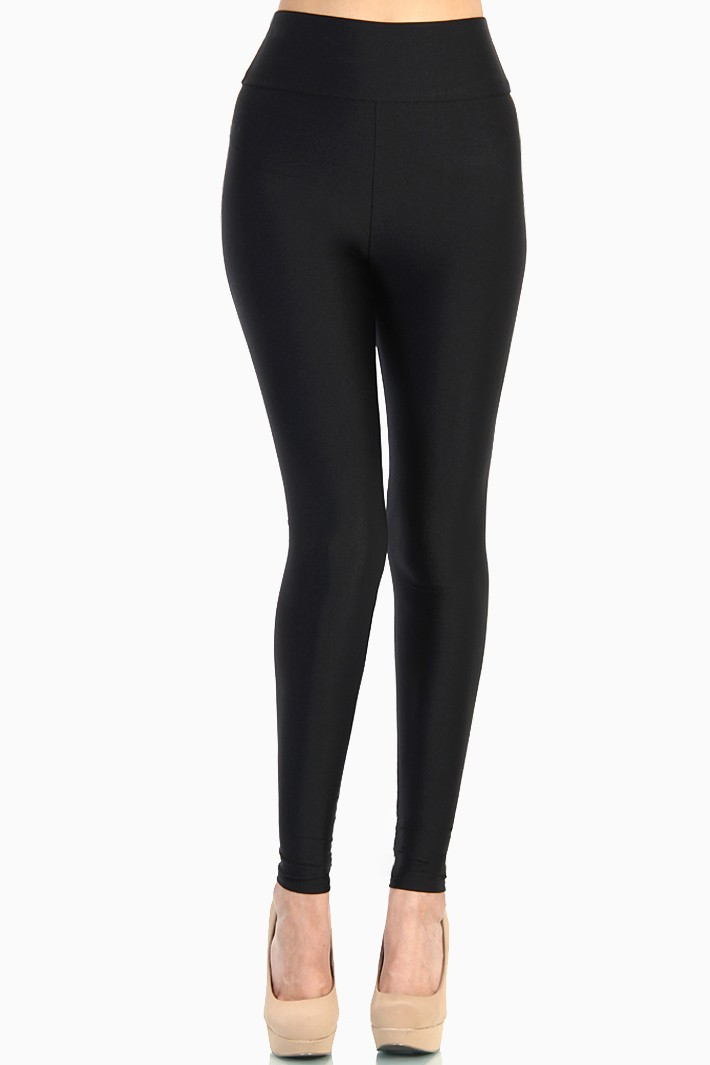 Nylon Tricot High Waist Leggings - Black