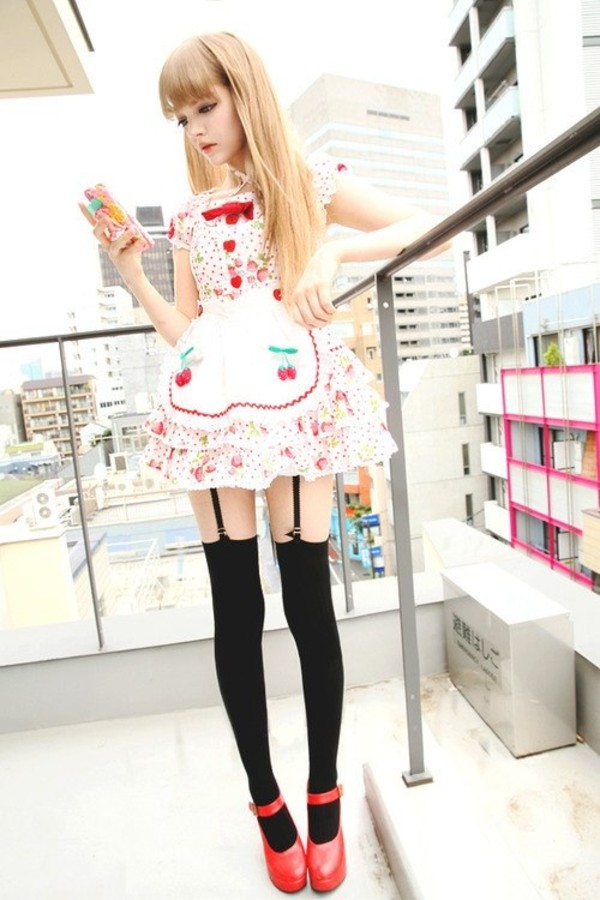 dress lolita cherry japanese thigh highs underwear skirt bow white red gyaru hime gyaru cherry blossom white dress black socks red high heels red heels japan japanese fashion jfashion