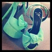 shoes,bow,chic,pumps,mint