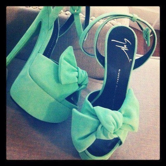 shoes pumps bow chic mint