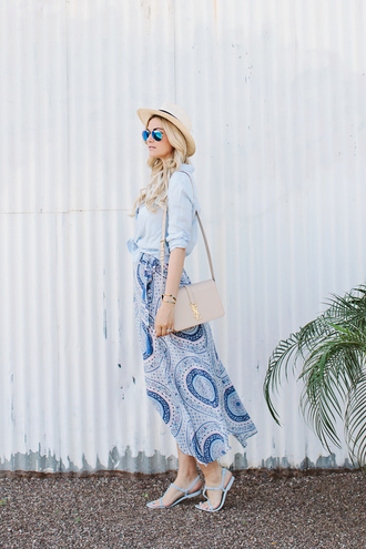 a little dash of darling blogger blue shirt mirrored sunglasses sun hat spring skirt maxi skirt blue blue skirt shoulder bag blue shoes flat sandals
