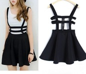 dress,girly,black,cut-out,skater dress,suspenders,skirt with suspenders