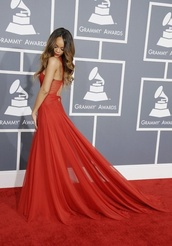 dress,rihanna,red dress,long dress,red prom dress,rihanna red dress,sexy prom dress