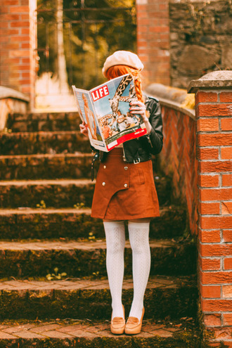 the clothes blogger jacket blouse skirt socks shoes fall outfits fall colors knee high socks suede skirt