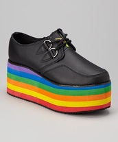 shoes,creepers,platform shoes,grunge,grunge shoes,gay pride,rainbow