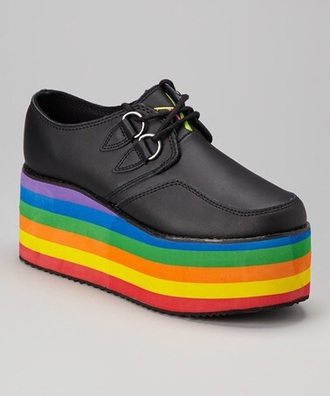 shoes creepers platform shoes grunge grunge shoes gay pride rainbow