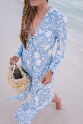 dress tumblr blue dress maxi dress floral floral dress button up v neck v neck dress bag woven bag