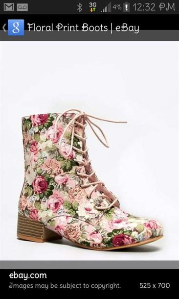 shoes floral combat boots