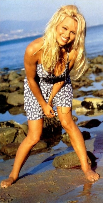 dress daisy denim blue blonde hair girl model celeb celebrity pamela anderson flowers white yelloe yellow
