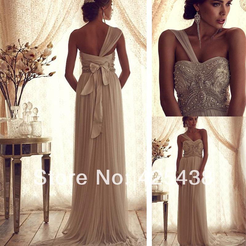 One Shoulder Beaded Wedding Dress