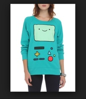 sweater,crewneck,crewneck sweater,crewneck sweatshirt,beemo,adventure time,adventure time sweater,hipster