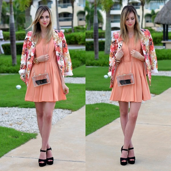 shoes sandals black dress orange flowers shirt bag Choies brand