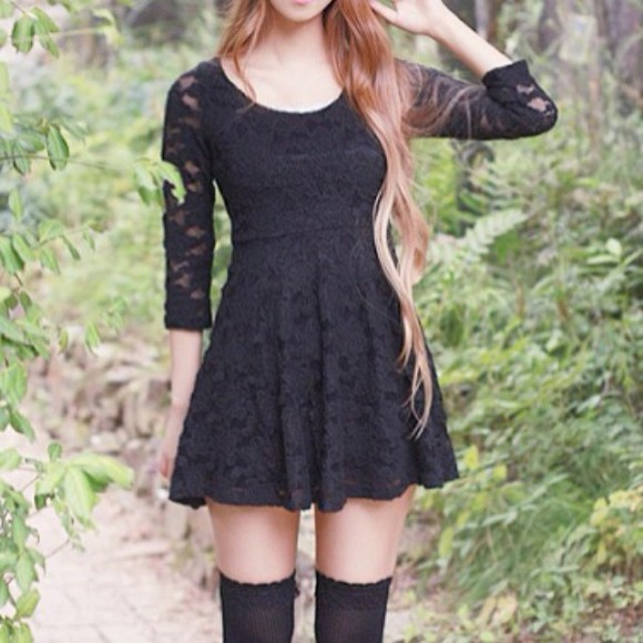 lace dress black lace dress lace sleeves beautiful short dress dress little black dress cute dress lace black