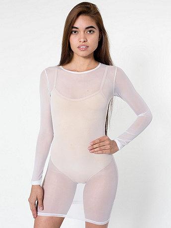 Nylon spandex micro-mesh long sleeve mini dress white and black