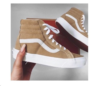 shoes brown vans high top sneakers tan sneakers