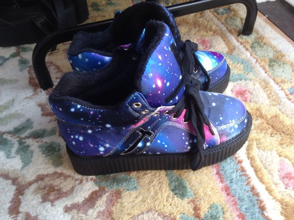 shoes galaxy print cross creepers platform shoes