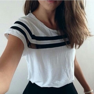 t-shirt casual t-shirts striped shirt stripes black and white