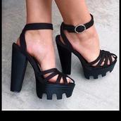 shoes,sandals,sandal heels,high heel sandals,strappy heels,strappy,straps,chunky sole,chunky heels,chunky,black,sexy,celebrity style,designer