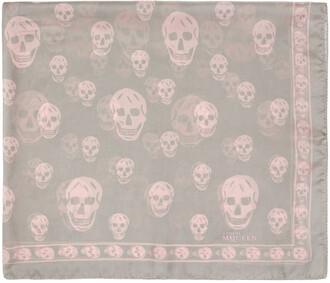 skull scarf silk grey