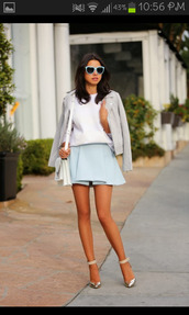 skirt,modern,blue,baby blue,gorgeous,shoes,bag,sunglasses,jacket