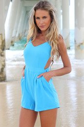 dress,ustrendy,ustrendy playsuit,romper,bright blue,bow back,bow,bows