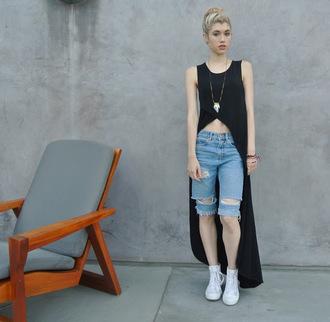 mermaid waves blogger bag denim shorts black top cropped high low pendant