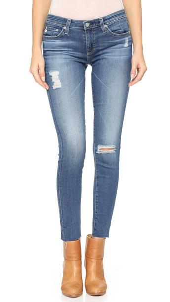 Ag Raw Hem Legging Ankle Jeans - 18 Year Destroy