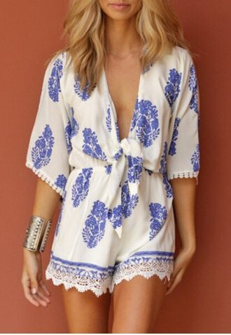 romper cute girly blue white summer print pattern gypsy boho lace